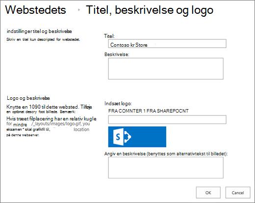 Indstillingsside for titel, beskrivelse og logo