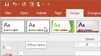 Skærmbillede af Office-temaet under fanen Design