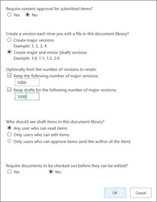 Indstillinger for bibliotek i SharePoint Online, der viser versionsstyring aktiveret