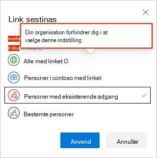Indstillinger for weblink i OneDrive