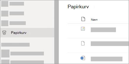 Et skærmbillede, der viser fanen Papirkurv på OneDrive.com.