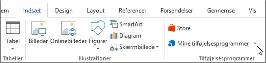 Skærmbillede af en del af fanen Indsæt på båndet i Word med en markør, der peger på min Tilføj element Markér mine tilføjelsesprogrammer til at få adgang til tilføjelsesprogrammer til Word.