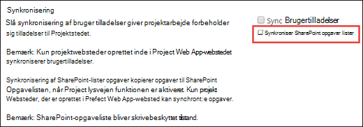 Synkronisere SharePoint-opgavelister