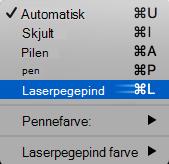 Vælge laserpegepind markøren i pop op-menuen