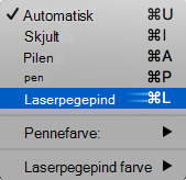 Vælg laserpegepind i pop op-menuen