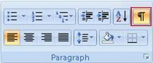 Knappen Vis/skjul formatering i gruppen Afsnit