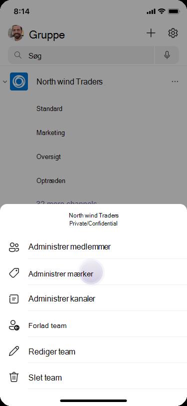 Administrer mærker i Teams ved hjælp af iOS