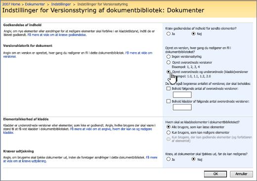 Indstillinger for versionsstyring til at aktivere versionsstyring, godkendelse og kræve indtjekning