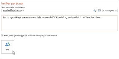 Del en præsentation på SharePoint