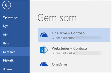 Gemme et Word-dokument på OneDrive for Business