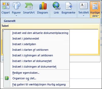 Rediger hurtige dele i Outlook 2007