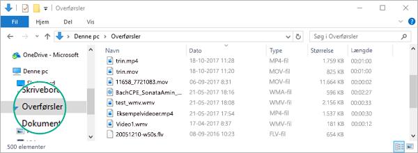 Den konverterede fil kopieres til mappen Downloads på computeren