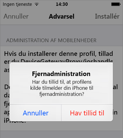 Tillid til fjernstyring på iPhone