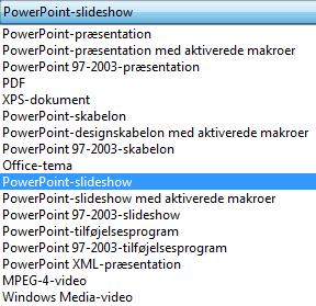 Gem din præsentation som et PowerPoint-slideshow.
