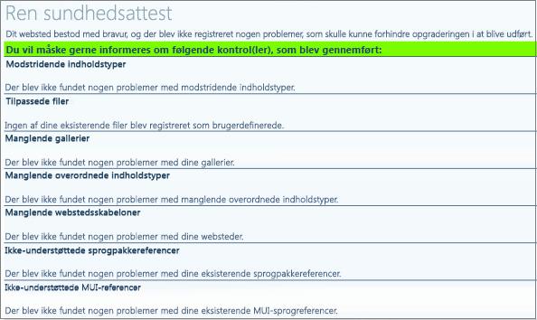 Resultater af tilstandskontrol af gruppe af websteder