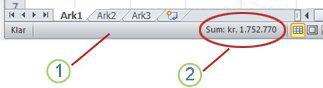 Statuslinjen i Excel