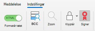 Viser knappen Log i en e-mail-meddelelse