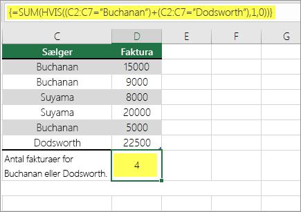 Eksempel 1: SUM og hvis indlejret i en formel