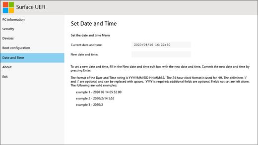 Skærmbilledet dato og klokkeslæt for Surface UEFI