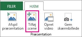 Tilføje en scene til en præsentation i Power-plotning