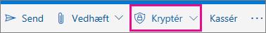Outlook.com-båndet med knappen Kryptér fremhævet