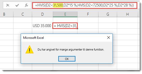 Excel-meddelelse, når du føjer et komma til en værdi