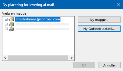 Dialogboksen til levering af Outlook-mail