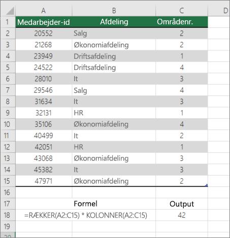 Eksempel på funktionen RÆKKER og KOLONNER til at tælle antallet af celler i et område