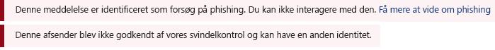 Et skærmbillede af den røde safety linje i en Outlook-meddelelse.