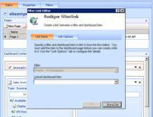 I Dashboarddesigner bruger du dialogboksen for filterlinkeditor til at konfigurere et link mellem et filter og en rapport eller et scorecard.