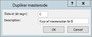 Et skærmbillede viser dialogboksen Dupliker masterside.