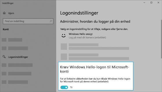Indstillingen til at bruge Windows Hello til at logge på for Microsoft-konti er slået til.