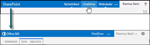 Vælg OneDrive på SharePoint for at gå til OneDrive for Business på Office 365