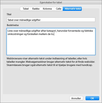 Skærmbillede af fanen Alternativ tekst i dialogboksen Egenskaber for tabel, der beskriver den valgte tabel