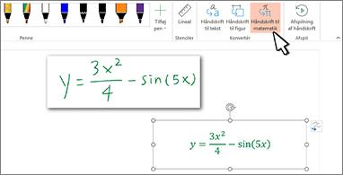 Ligning skrevet i hånden og den samme ligning konverteret til formateret tekst og tal