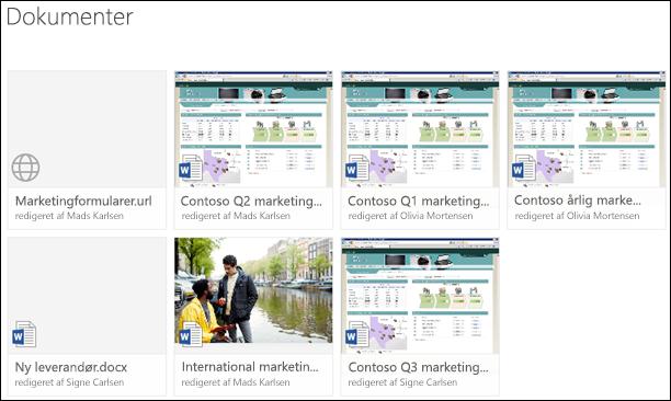 Tilføje et link i et dokumentbibliotek i Office 365