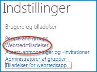 Skærmbillede af et sæt indstillinger på siden Indstillinger for websted, som viser linket Personer og grupper