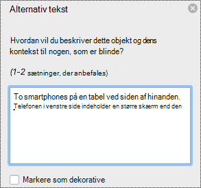 Ruden alternativ tekst i Excel til Mac