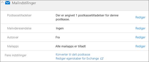 Skærmbillede: Konvertér brugerpostkasse til en delt postkasse