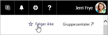 Et skærmbillede af knappen Opfølgning på et SharePoint-websted.