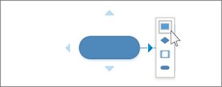 Miniværktøjslinjen Opret automatisk forbindelse med valgmuligheder