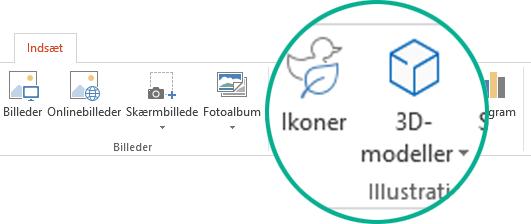 Knapperne til ikoner og 3D-modeller på fanen Indsæt på værktøjslinjen i Office 365