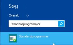 Skærmbillede af standardprogrammer