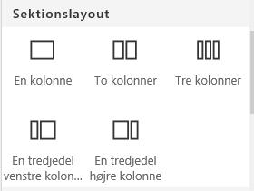 Skærmbillede af menuen Sektionslayout i SharePoint.