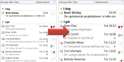 Illustration of increasing font size in the message list
