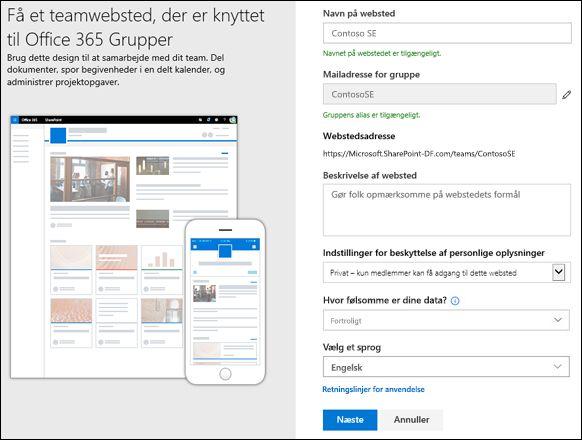 Opret et SharePoint-teamwebsted