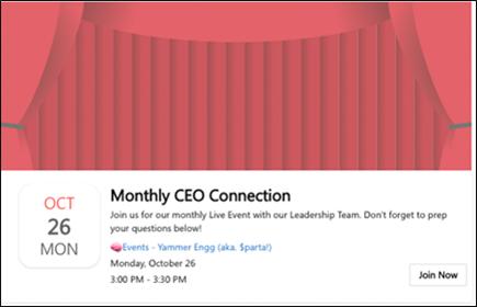 Skærmbillede, der viser skærmbilledet til deltagelse i en livebegivenhed