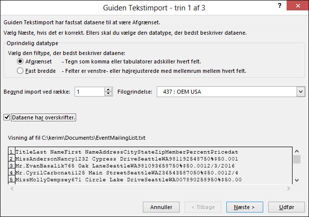 Excel, hent eksterne data fra tekst, guiden Tekstimport, trin 1 af 3