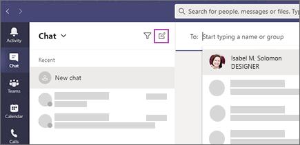 Hvis du vil starte en chat, skal du vælge Ny chat øverst på chatlisten.