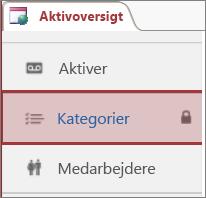 Låseikon vist i et låst tabel i Access